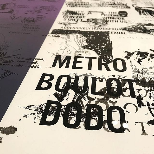 """DC Violet, Detail of monotype ans collage, """"Métro Boulot Dodo"""", detail from A #CongregationOfWits a limited edition silkscreen print by Andrew Cornell Robinson @acrstudio presented by @tohellwithculture @satelliteartshow #miami #notbasel #art #artforsale"""