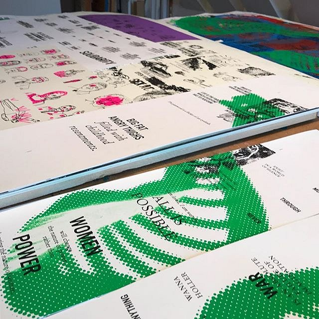 Detail from printing a #congregationofwits  by @acrstudio on view @rusk_inc AND this week in #Miami @satelliteartshow #artbasel #notbasel #print #silkscreen #serigraph #art #limitededition