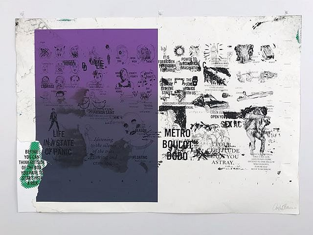 DC Violet, Detail of monotype ans collage, from A #CongregationOfWits a limited edition silkscreen print by Andrew Cornell Robinson @acrstudio presented by @tohellwithculture @satelliteartshow #miami #notbasel #art #artforsale #resist #irresistible #conte