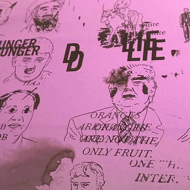 """DC Violet, Detail of monotype ans collage, """"Oranges are not the only fruit"""", detail from A #CongregationOfWits a limited edition silkscreen print by Andrew Cornell Robinson @acrstudio presented by @tohellwithculture @satelliteartshow #miami #notbasel #art"""
