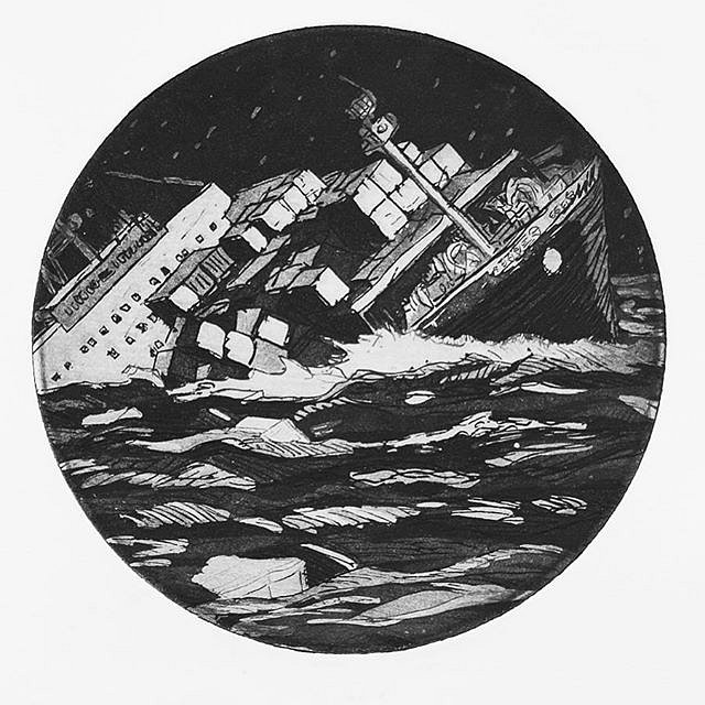 Ship of Fools (S.O.S.), etching, 8 inches diameter, 2012 by @acrstudio #ship #sos #sink #capsize #etching #printmaking #artforyachts #superyacht #art #limitedition